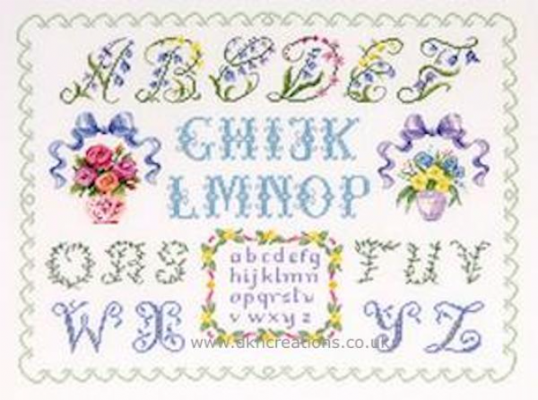 ABC With Small Bouquets Sampler Cross Stitch Kit